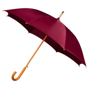maroon wood stick umbrella