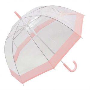 Pastoral pink bordered dome umbrella